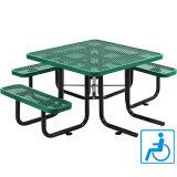 """46의 """" Ada 사각에 의하여 확장되는 금속 픽크닉 테이블 상단과 3개의 벤치 시트"""