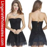 Le donne sexy merlettano in su il vestito più bustier dal corsetto senza bretelle gotico di Clubwear