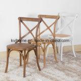Muebles antiguos Woodenb que cena la silla de la parte posterior de la cruz