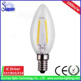 Luz de bulbo del filamento LED de E14/E27 Dimmable C35 2W