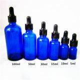 De in het groot Blauwe/Groene Flessen van de Schoonheidsmiddelen van de Flessen van het Glas van de Druppel van de Fles van de Olie 5ml-100ml (NBG1119)