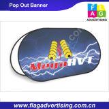 La publicité populaire de vue d'acier inoxydable ovale sautent vers le haut le drapeau d'étalage