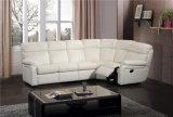 白いカラー革コーナーのソファーベッド
