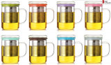 la cuvette de thé en verre du l'Élevé-Borosilicate 350ml a placé avec S/S Infuser/tasse en verre de thé avec le chapeau en verre/générateur de thé en verre