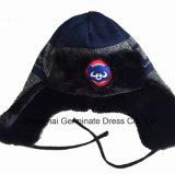 Sombrero que hace punto caliente de Earflap del invierno con la guarnición de la piel para el club de deporte (HJB107)