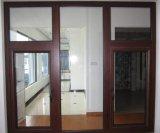 Ventana de cristal de color de la alta calidad de la película del marco revestido de madera de lujo del PVC del surtidor en Zhejiang, China (PCW-030)