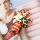 Broche multicolore en cristal de Pin de Bells de tintement de Noël de Bowknot d'émail grande