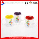 Taza de café de cerámica de diverso de la talla 9-11oz del color cuadrado del esmalte