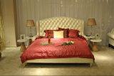 Weiße echtes Leder-Schlafzimmer-Möbel (B002)