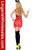 Costume мыши миниого платья подтяжок МНОГОТОЧИЯ польки сексуальных женщин Высокий-Waisted