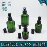 Botella de cristal cosmética del cilindro verde y tarro poner crema de cristal del casquillo negro