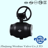 Válvula de esfera manual montada eixo inteiramente de solda para a indústria