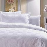 La literie blanche de vérification de satin de modèle neuf a placé/linge de lit contrôlée de coton d'hôtel (WS-2016010)