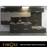 Cabinas de cocina azules de la proyección de la tapa del banco de madera sólida Tivo-0243h por encargo