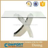 Tabela de jantar de vidro da forma moderna de X para a mobília da sala de visitas