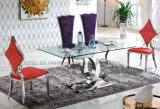 Ensemble de salle à manger Luxe confortable table en verre trempé (A6085)