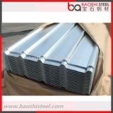 Hoja de acero acanalada revestida galvanizada del cinc para el material para techos