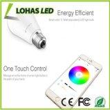 Smartphone controlou a cor colorido de Dimmable da iluminação do diodo emissor de luz que muda o bulbo esperto do diodo emissor de luz de WiFi com E27 9W