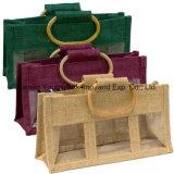 La manera promocional crea el bolso del yute para requisitos particulares del tarro de la maneta 2 del bastón