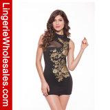 Gedrucktes Sleeveless kurzes Kleid der Frauen reizvolles Schwarzes