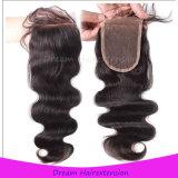 Волосы девственницы объемной волны верхнего качества бразильские с закрытием шнурка