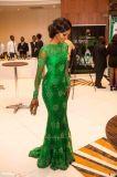 Vestido de noite longo E1417 das luvas da sereia verde do vestido formal do laço