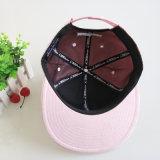 Fabricante de los casquillos y de los sombreros del Snapback 3D del bordado de la PU de los paneles del color de rosa 6