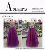 Aoliweiya Großhandelsqualitäts-Abend-Kleid mit gestickter Blume