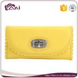 若い女の子のための黄色いカラー方法PUの革札入れ
