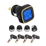 TPMS Car Wireless Sistema de monitoramento de pressão de pneus Visor LCD 4 Sensores internos Cigarette Lighte