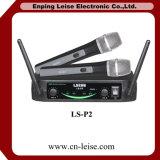 Профессиональный-Тональнозвуковой микрофон радиотелеграфа UHF Karaoke двойных каналов Ls-P2