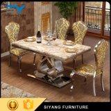 Cadeira de tabela ajustada luxuosa do jantar do ouro da tabela de jantar da mobília chinesa