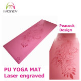 Modelo de encargo grabado laser de la estera de la yoga de la PU antirresbaladizo