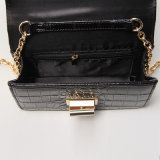Crocodile Grain PU Rotary Buckle Black Shoulder Bag (A014)