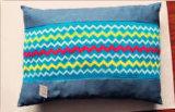 Almohadilla azul hecha punto onda del animal doméstico de la estera del animal doméstico de la tela del color