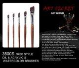 Комплект щетки чертежа искусствоа ручки синтетических волос деревянный