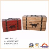 Caixa de armazenamento decorativa da cópia do teste padrão da vaca da exploração agrícola da mobília antiga, caixa de presente e mala de viagem