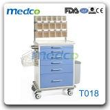 Krankenhaus-Stahlkrankenpflege-Karren-Medizin-Laufkatze mit Teilern