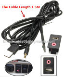 Bündiger Zusatz 3.5mm Kopfhörermännliches Jack-Befestigungsadapter-Panel-Input-Leitungskabel Montierung USB-