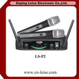 Double microphone de radio de fréquence ultra-haute de professionnel de la Manche Ls-P2
