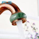 Faucet do punho do jade do banheiro da pintura do ouro de Flg Rosa único
