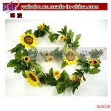 Prodotti del partito della ghirlanda del girasole di colore giallo del fiore della seta artificiale migliori (W1029)