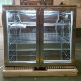 refrigerador de la barra de la parte posterior del refrigerador de la cerveza de la puerta deslizante del doble 210L de la refrigeración del ápice