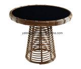2016熱い販売はアルミニウムフレームの庭の使用のための柳細工のダイニングテーブルセットを陽極酸化した