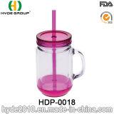 Neuestes doppel-wandiges Plastikglas des maurer-2017 mit Griff (HDP-0166)