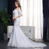 Trompette élégante de sirène outre de robe de mariage perlée Appliqued par épaule
