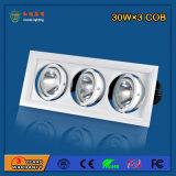 Alumínio 30W * 3 Bridgelux Grille Light para iluminação de obras