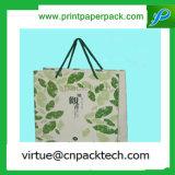 ハンドルが付いている敏感な緑の花柄のSimplenessクラフト紙袋