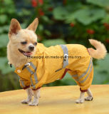 Al aire libre perrito de poliéster impermeable Glisten Cuatro-Leg impermeable Doggie encapuchados forrado traje de lluvia mono para peluche, pug, Chihuahua, Shih Tzu, terrieres de Yorkshire