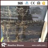 室内装飾のためのPortoroの自然な磨かれた黒い大理石の平板